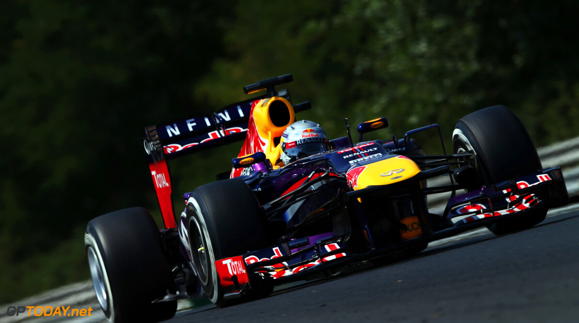 166985989KR00043_F1_Grand_P BUDAPEST, HUNGARY - JULY 27:  Sebastian Vettel of Germany and Infiniti Red Bull Racing drives during the final practice session prior to qualifying for the Hungarian Formula One Grand Prix at Hungaroring on July 27, 2013 in Budapest, Hungary.  (Photo by Mark Thompson/Getty Images) *** Local Caption *** Sebastian Vettel F1 Grand Prix of Hungary - Qualifying Mark Thompson Budapest Hungary