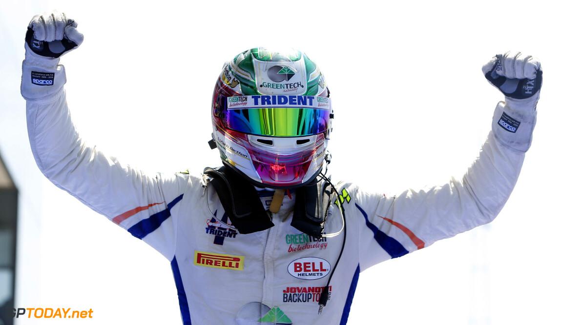 2013 GP2 Series. Round 7.  Hungaroring, Budapest, Hungary. 28th July 2013.  Sunday Race. Nathanael Berthon (FRA, Trident Racing) celebrates his victory.  World Copyright: Alastair Staley/GP2 Media Service  Ref: _R6T6907  Al Staley