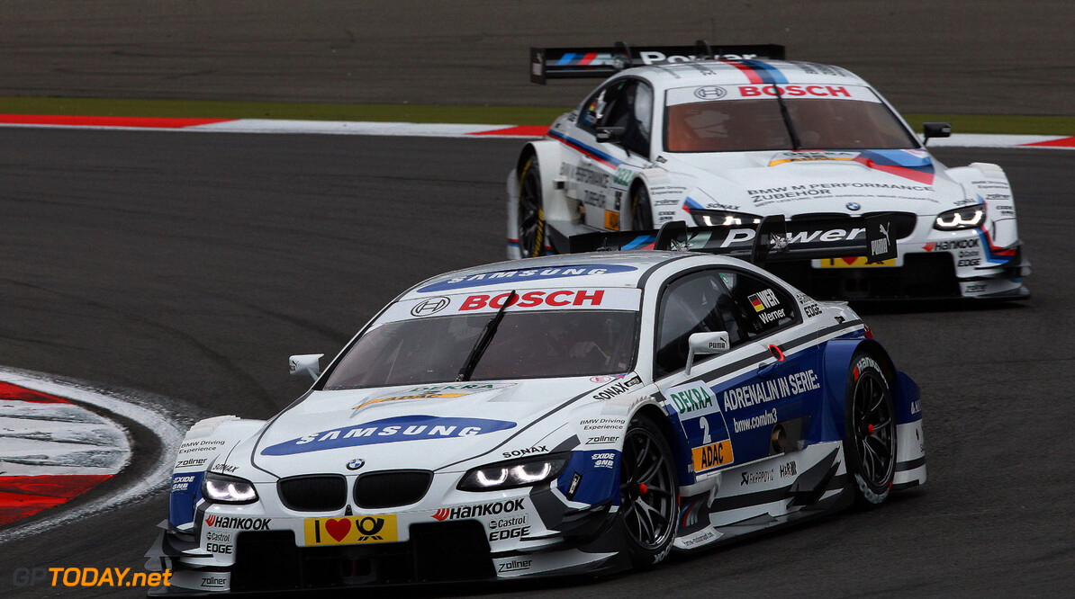 Nuerburgring (DE) 18th August 2012. BMW Motorsport, Dirk Werner (DE) SAMSUNG BMW M3 DTM and Martin Tomczyk (DE) BMW M Performance Parts M3 DTM. This image is copyright free for editorial use (C) BMW AG (08/2013).