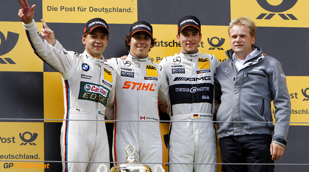 www.hoch-zwei.net #7 Augusto Farfus (BRA, BMW Team RBM / BMW M3 DTM), #10 Robert Wickens (CAN, Mercedes AMG DTM-Team / DTM Mercedes AMG C-Coupe), #9 Christian Vietoris (GER, Mercedes AMG DTM-Team / DTM Mercedes AMG C-Coupe),  Motorsports / DTM: german touring cars championship 2013, Race at Nuerburgring HOCH ZWEI / Juergen Tap Nuerburgring Germany  Motorsport - motor sport Partner01 Weltmeisterschaft - World Champ DTM - Deutsche Tourenwagen Meis Meisterschaft - championship Sieger - champion    Freude - joy    Jubel - celebration    Stimmung - mood    Siegerehrung - podium medal cer Ehrung - honour    Personen - people    jubelt jubelnd celebrates freut freuend positiv Gewinner gewonnen