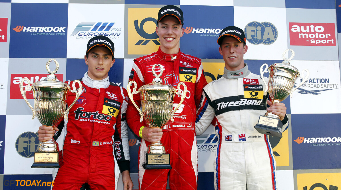 FIA Formula 3 European Championship, round 7, race 2, Nuerburgri Prize giving ceremony, 12 Luis Felipe Derani (BR, Fortec Motorsports, Dallara F312 Mercedes), 1 Raffaele Marciello (I, Prema Powerteam, Dallara F312 Mercedes), 14 Alexander Sims (GB, Threebond with T-Sport, Dallara F312 ThreeBond Nissan), FIA Formula 3 European Championship, round 7, race 2, Nuerburgring (D) - 16. - 18. August 2013 *** Local Caption *** Copyright (c) FIA Formula 3 European Championship / Thomas Suer FIA Formula 3 European Championship, round 7, race 2, Nuerburgring (D) Thomas Suer Nuerburgring Germany