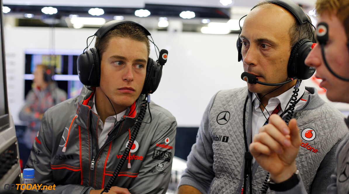 Stoffel Vandoorne with Phil Prew and Oliver Turvey in the garage.