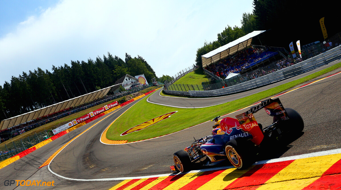 166987350KR00260_F1_Grand_P SPA, BELGIUM - AUGUST 23:  Mark Webber of Australia and Infiniti Red Bull Racing drives thru Eau Rouge during practice for the Belgian Grand Prix at Circuit de Spa-Francorchamps on August 23, 2013 in Spa, Belgium.  (Photo by Clive Mason/Getty Images) *** Local Caption *** Mark Webber F1 Grand Prix of Belgium - Practice Clive Mason Spa Belgium