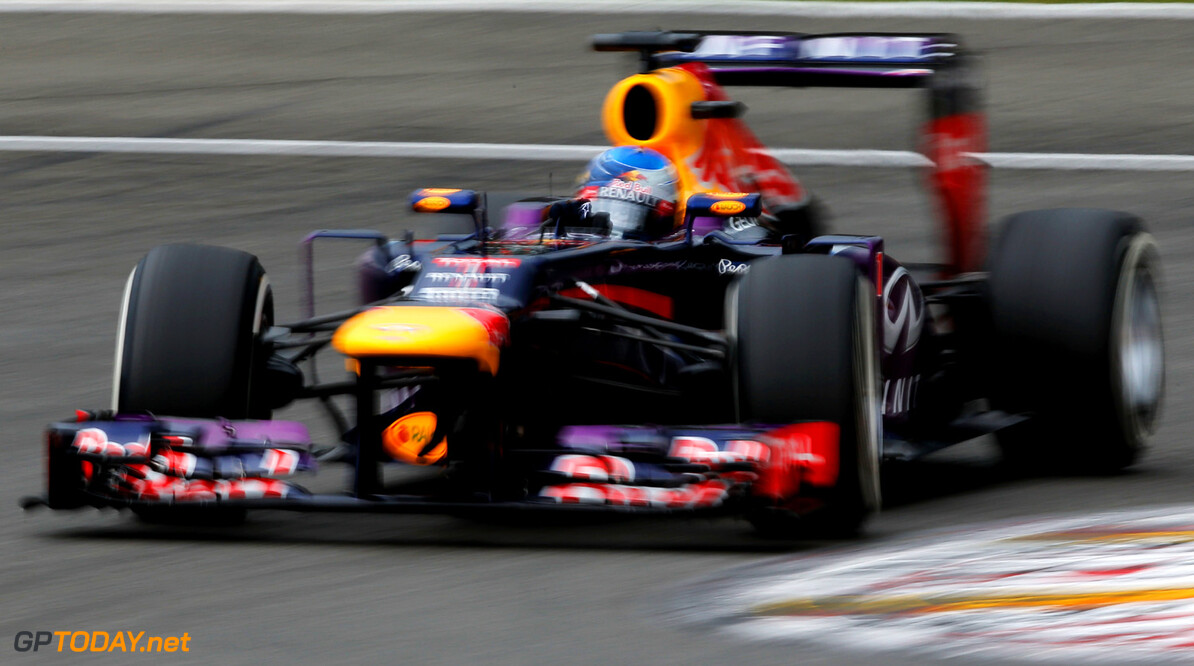 166987370KR00227_F1_Grand_P SPA, BELGIUM - AUGUST 24:  Sebastian Vettel of Germany and Infiniti Red Bull Racing drives during qualifying for the Belgian Grand Prix at Circuit de Spa-Francorchamps on August 24, 2013 in Spa, Belgium.  (Photo by Dean Mouhtaropoulos/Getty Images) *** Local Caption *** Sebastian Vettel F1 Grand Prix of Belgium - Qualifying Dean Mouhtaropoulos Spa Belgium