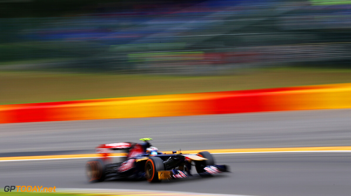 166987370KR00083_F1_Grand_P SPA, BELGIUM - AUGUST 24:  Daniel Ricciardo of Australia and Scuderia Toro Rosso drives during the final practice session prior to qualifying for the Belgian Grand Prix at Circuit de Spa-Francorchamps on August 24, 2013 in Spa, Belgium.  (Photo by Mark Thompson/Getty Images) *** Local Caption *** Daniel Ricciardo F1 Grand Prix of Belgium - Qualifying Mark Thompson Spa Belgium  SHELLGP SHELL GP