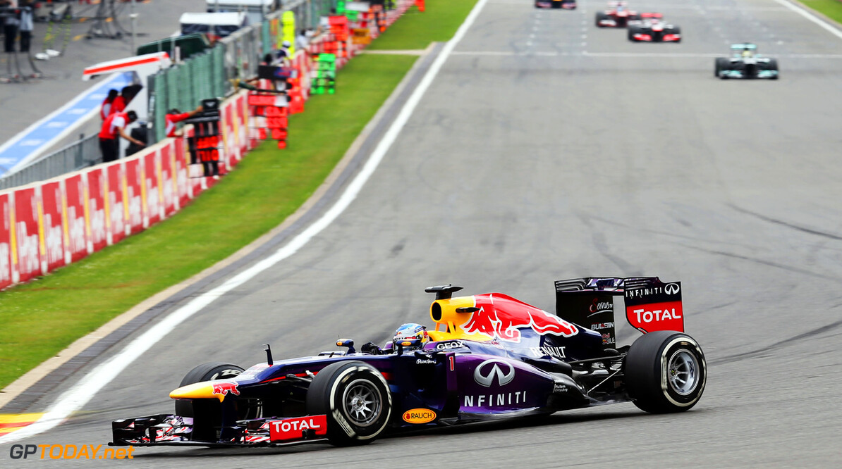 166987383KR00034_F1_Grand_P SPA, BELGIUM - AUGUST 25:  Sebastian Vettel of Germany and Infiniti Red Bull Racing drives during the Belgian Grand Prix at Circuit de Spa-Francorchamps on August 25, 2013 in Spa, Belgium.  (Photo by Mark Thompson/Getty Images) *** Local Caption *** Sebastian Vettel F1 Grand Prix of Belgium - Race Mark Thompson Spa Belgium