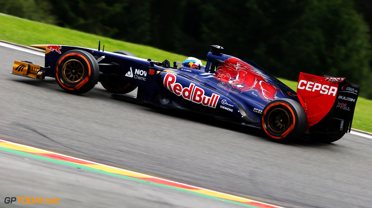 166987383KR00176_F1_Grand_P SPA, BELGIUM - AUGUST 25:  Jean-Eric Vergne of France and Scuderia Toro Rosso drives during the Belgian Grand Prix at Circuit de Spa-Francorchamps on August 25, 2013 in Spa, Belgium.  (Photo by Mark Thompson/Getty Images) *** Local Caption *** Jean-Eric Vergne F1 Grand Prix of Belgium - Race Mark Thompson Spa Belgium
