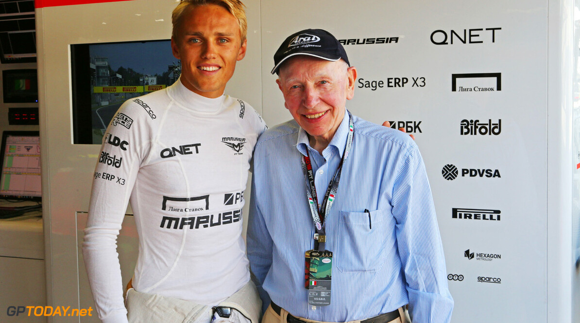 Formula One World Championship (L to R): Max Chilton (GBR) Marussia F1 Team with John Surtees (GBR).