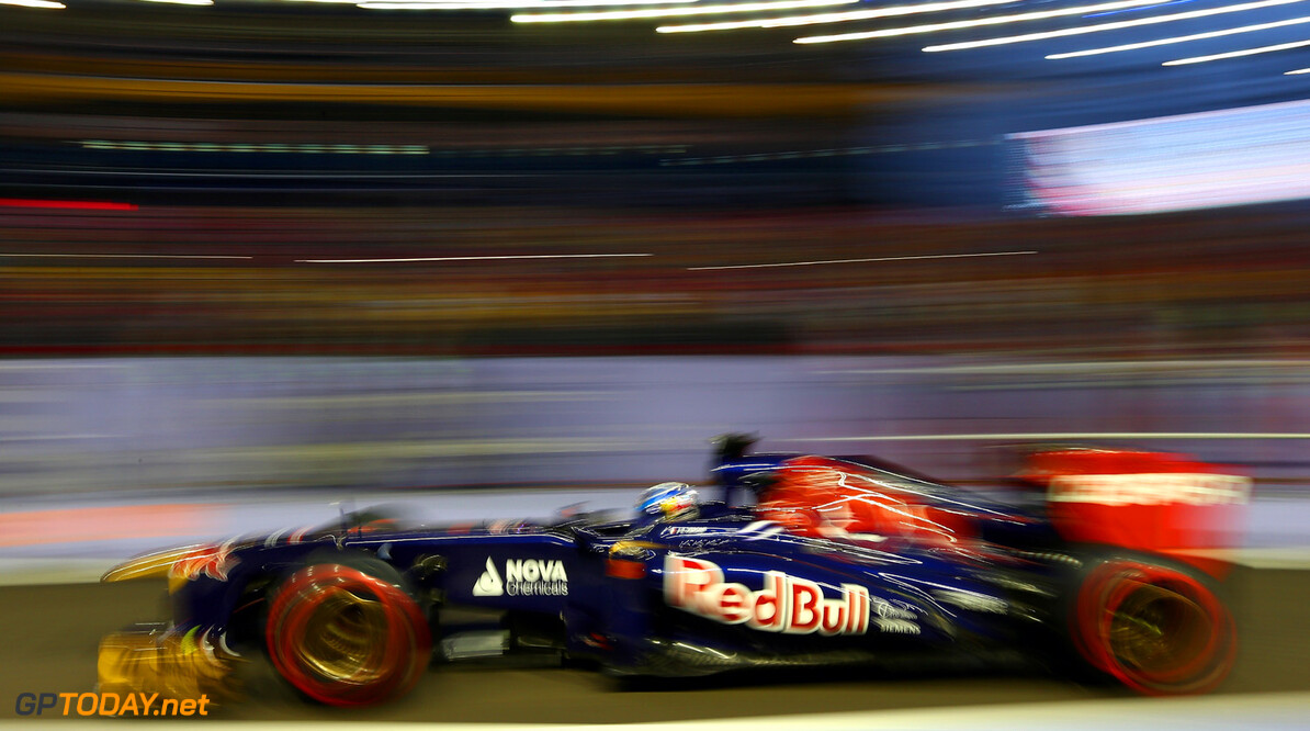 SINGAPORE - SEPTEMBER 21:  Jean-Eric Vergne of France and Scuderia Toro Rosso drives during final practice ahead of qualifying for the Singapore Formula One Grand Prix at Marina Bay Street Circuit on September 21, 2013 in Singapore, Singapore.  (Photo by Clive Mason/Getty Images) *** Local Caption *** Jean-Eric Vergne F1 Grand Prix of Singapore - Qualifying Clive Mason Singapore Singapore