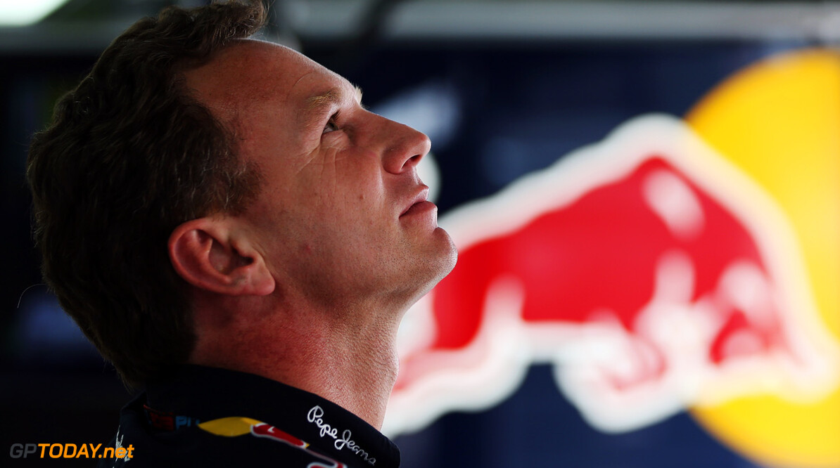 166988102KR00250_F1_Grand_P YEONGAM-GUN, SOUTH KOREA - OCTOBER 05:  Infinti Red Bull Racing Team Principal Christian Horner is seen in his team garage during qualifying for the Korean Formula One Grand Prix at Korea International Circuit on October 5, 2013 in Yeongam-gun, South Korea.  (Photo by Mark Thompson/Getty Images) *** Local Caption *** Christian Horner F1 Grand Prix of Korea - Qualifying Mark Thompson Yeongam-gun South Korea  F1 Mokpo