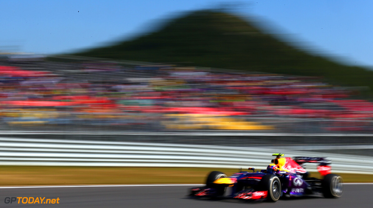 166988091KR00078_F1_Grand_P YEONGAM-GUN, SOUTH KOREA - OCTOBER 04:  Mark Webber of Australia and Infiniti Red Bull Racing drives during practice for the Korean Formula One Grand Prix at Korea International Circuit on October 4, 2013 in Yeongam-gun, South Korea.  (Photo by Clive Mason/Getty Images) *** Local Caption *** Mark Webber F1 Grand Prix of Korea - Practice Clive Mason Yeongam-gun South Korea  F1 Mokpo