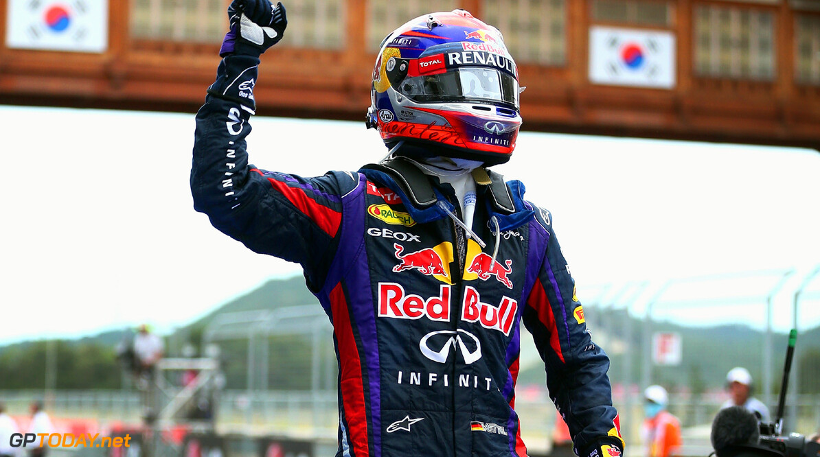 166988115KR00054_F1_Grand_P YEONGAM-GUN, SOUTH KOREA - OCTOBER 06:  Sebastian Vettel of Germany and Infiniti Red Bull Racing celebrates in parc ferme after winning the Korean Formula One Grand Prix at Korea International Circuit on October 6, 2013 in Yeongam-gun, South Korea.  (Photo by Clive Mason/Getty Images) *** Local Caption *** Sebastian Vettel F1 Grand Prix of Korea - Race Clive Mason Yeongam-gun South Korea  F1 Mokpo