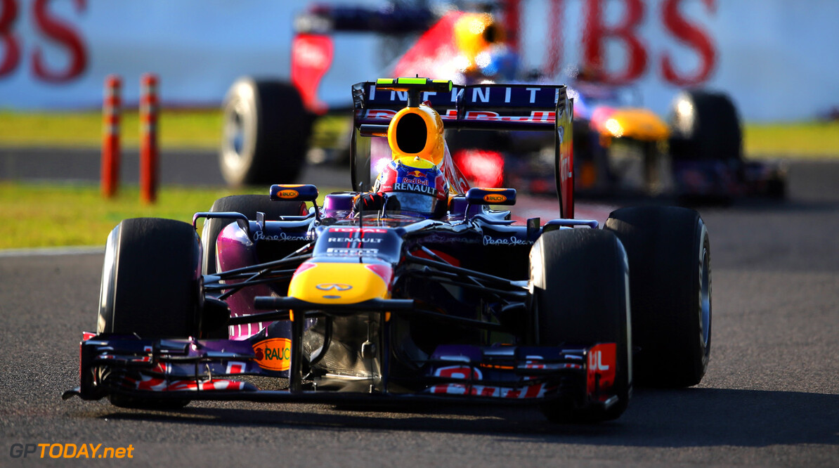 166988186KR00188_F1_Grand_P SUZUKA, JAPAN - OCTOBER 13:  Mark Webber of Australia and Infiniti Red Bull Racing drives during the Japanese Formula One Grand Prix at Suzuka Circuit on October 13, 2013 in Suzuka, Japan.  (Photo by Clive Rose/Getty Images) *** Local Caption *** Mark Webber F1 Grand Prix of Japan - Race Clive Rose Suzuka Japan