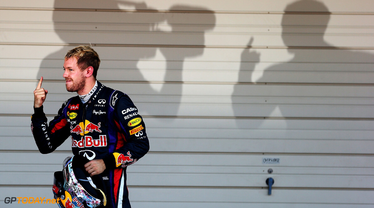 166988186KR00106_F1_Grand_P SUZUKA, JAPAN - OCTOBER 13:  Sebastian Vettel of Germany and Infiniti Red Bull Racing celebrates in parc ferme after winning the Japanese Formula One Grand Prix at Suzuka Circuit on October 13, 2013 in Suzuka, Japan.  (Photo by Mark Thompson/Getty Images) *** Local Caption *** Sebastian Vettel F1 Grand Prix of Japan - Race Mark Thompson Suzuka Japan