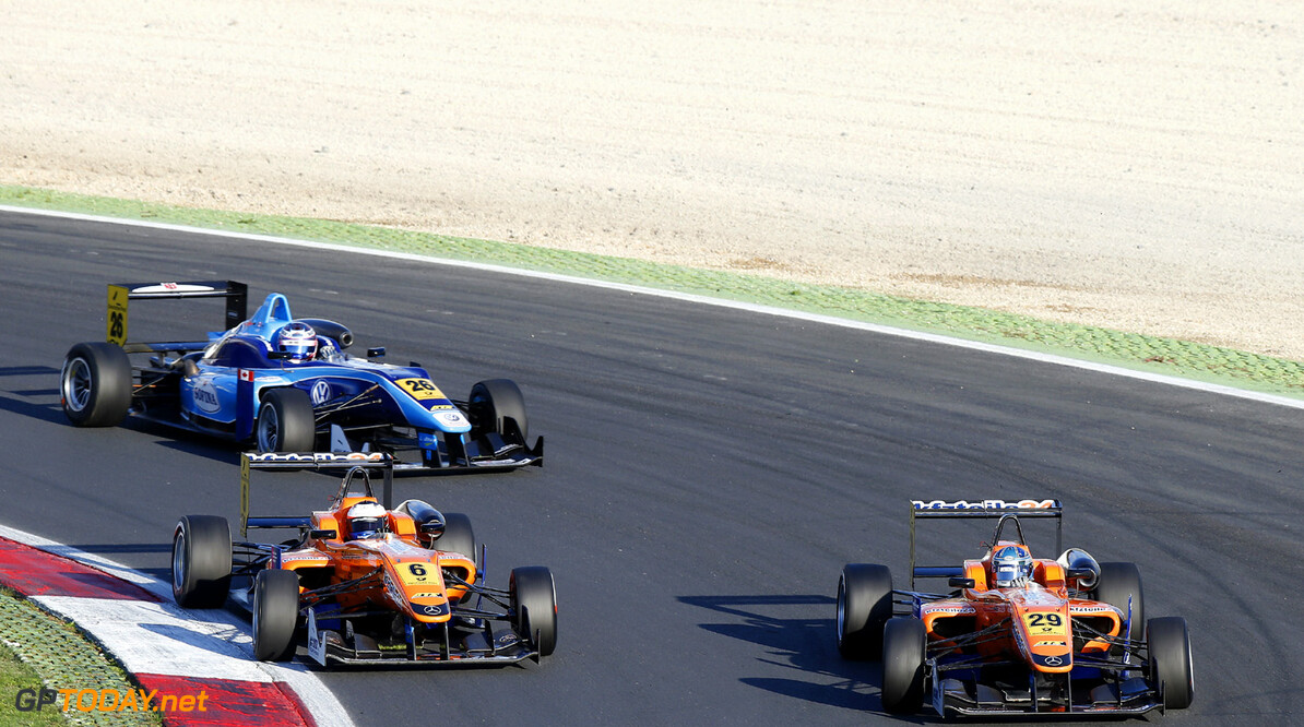 FIA Formula 3 European Championship, round 9, race 1, Vallelunga 6 Felix Rosenqvist (S, kfzteile24 Muecke Motorsport, Dallara F312 Mercedes), 29 Roy Nissany (IL, kfzteile24 Muecke Motorsport, Dallara F312 Mercedes), FIA Formula 3 European Championship, round 9, race 1, Vallelunga (I) - 12. - 13. October 2013 FIA Formula 3 European Championship, round 9, race 1, Vallelunga (I) Thomas Suer Vallelunga Italy