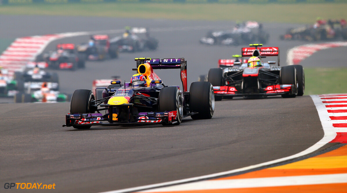 166989286XX00182_F1_Grand_P NOIDA, INDIA - OCTOBER 27:  Mark Webber of Australia and Infiniti Red Bull Racing drives during the Indian Formula One Grand Prix at Buddh International Circuit on October 27, 2013 in Noida, India.  (Photo by Clive Mason/Getty Images) *** Local Caption *** Mark Webber F1 Grand Prix of India - Race Clive Mason Noida India  Delhi
