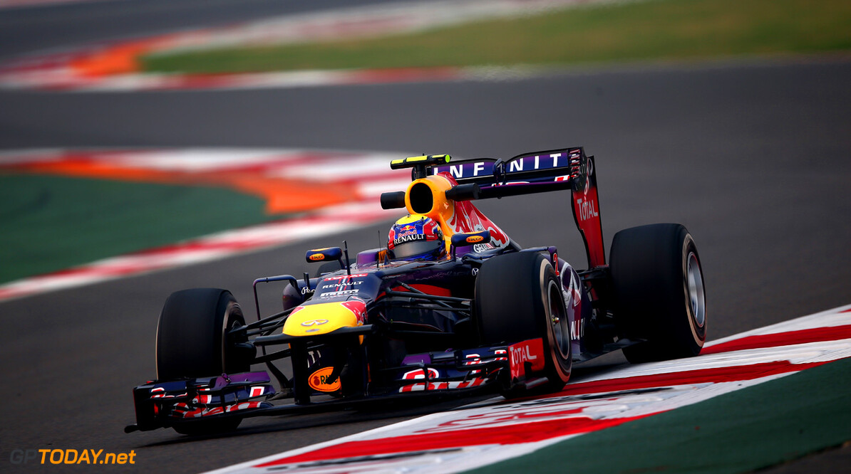 166989242XX00186_F1_Grand_P NOIDA, INDIA - OCTOBER 25:  Mark Webber of Australia and Infiniti Red Bull Racing drives during practice for the Indian Formula One Grand Prix at Buddh International Circuit on October 25, 2013 in Noida, India.  (Photo by Clive Mason/Getty Images) *** Local Caption *** Mark Webber F1 Grand Prix of India - Practice Clive Mason Noida India  Delhi