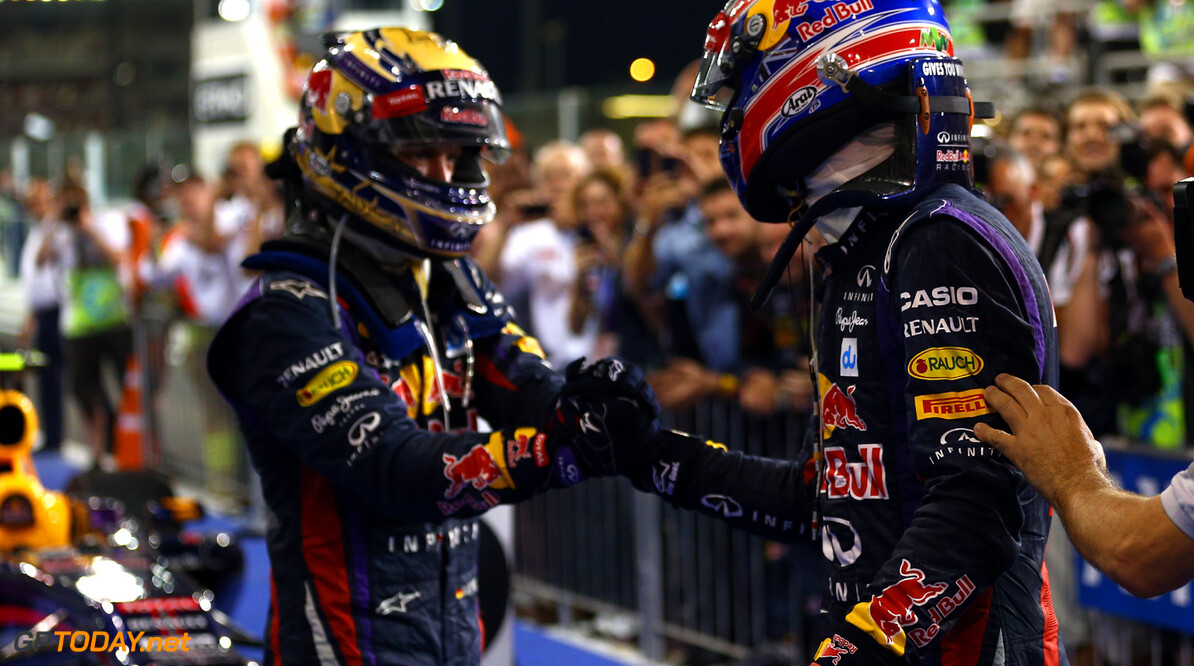166989348XX00116_F1_Grand_P ABU DHABI, UNITED ARAB EMIRATES - NOVEMBER 03:  (LR) Race winner Sebastian Vettel of Germany and Infiniti Red Bull Racing celebrates with second placed Mark Webber of Australia and Infiniti Red Bull Racing following the Abu Dhabi Formula One Grand Prix at the Yas Marina Circuit on November 3, 2013 in Abu Dhabi, United Arab Emirates.  (Photo by Paul Gilham/Getty Images) *** Local Caption *** Sebastian Vettel; Mark Webber F1 Grand Prix of Abu Dhabi - Race Paul Gilham Abu Dhabi United Arab Emirates