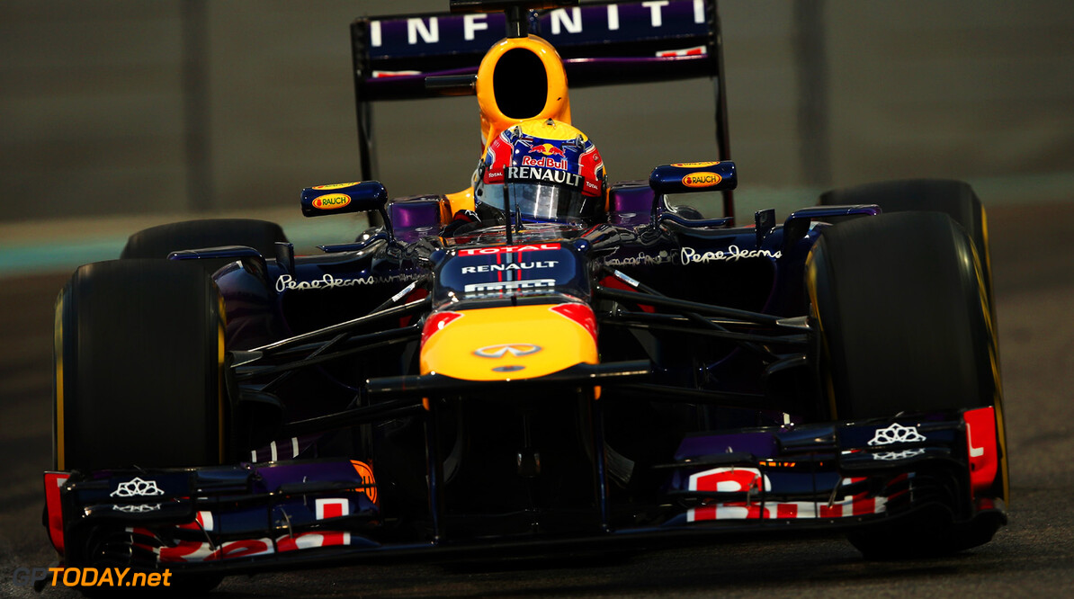 166989337XX00132_F1_Grand_P ABU DHABI, UNITED ARAB EMIRATES - NOVEMBER 02:  Mark Webber of Australia and Infiniti Red Bull Racing drives during qualifying for the Abu Dhabi Formula One Grand Prix at the Yas Marina Circuit on November 2, 2013 in Abu Dhabi, United Arab Emirates.  (Photo by Mark Thompson/Getty Images) *** Local Caption *** Mark Webber F1 Grand Prix of Abu Dhabi - Qualifying Mark Thompson Abu Dhabi United Arab Emirates