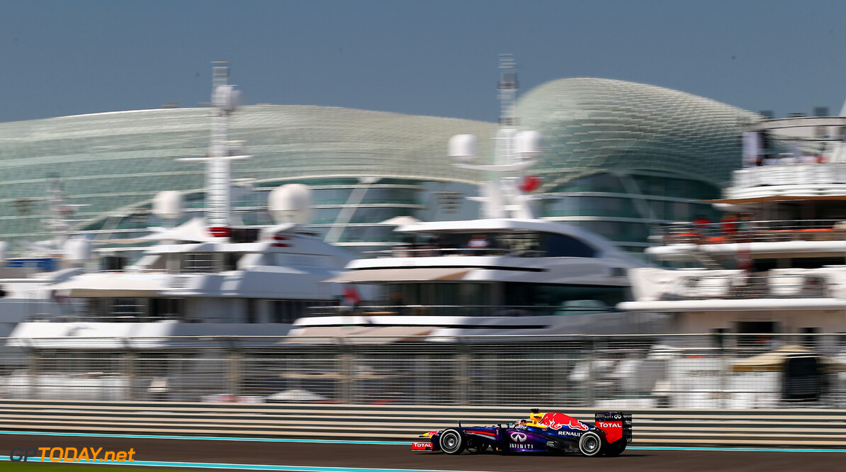 166989331XX00115_F1_Grand_P ABU DHABI, UNITED ARAB EMIRATES - NOVEMBER 01:  Sebastian Vettel of Germany and Infiniti Red Bull Racing drives during practice for the Abu Dhabi Formula One Grand Prix at the Yas Marina Circuit on November 1, 2013 in Abu Dhabi, United Arab Emirates.  (Photo by Clive Mason/Getty Images) *** Local Caption *** Sebastian Vettel F1 Grand Prix of Abu Dhabi - Practice Clive Mason Abu Dhabi United Arab Emirates