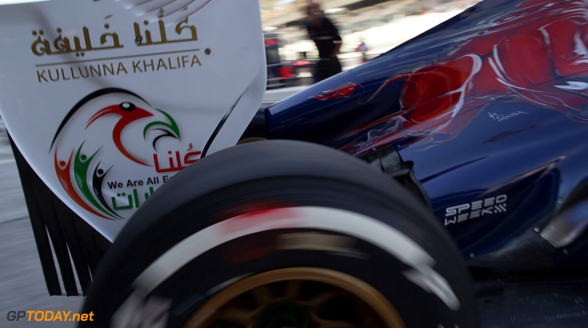 ABU DHABI, UNITED ARAB EMIRATES - NOVEMBER 01:  Detail view in the Scuderia Toro Rosso garage during practice for the Abu Dhabi Formula One Grand Prix at the Yas Marina Circuit on November 1, 2013 in Abu Dhabi, United Arab Emirates.  (Photo by Peter Fox/Getty Images) F1 Grand Prix of Abu Dhabi - Practice Peter Fox Abu Dhabi United Arab Emirates