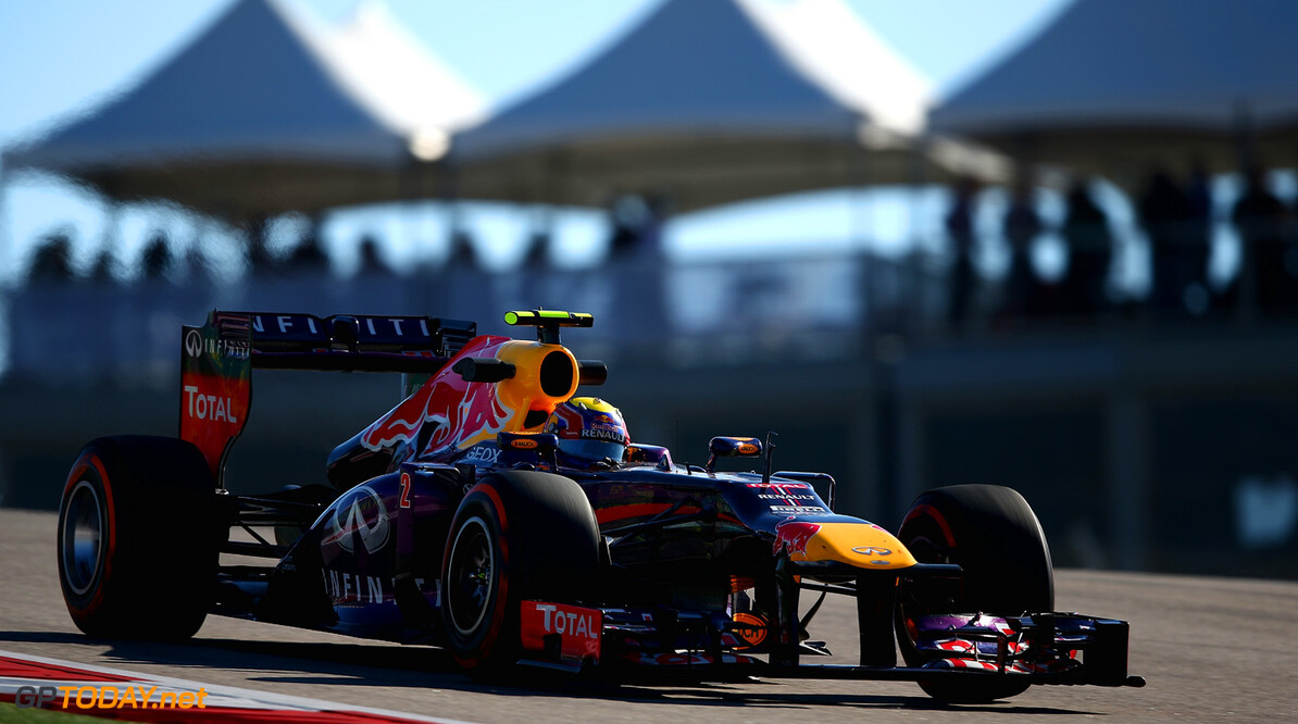 166989390KR00237_F1_Grand_P AUSTIN, TX - NOVEMBER 15:  Mark Webber of Australia and Infiniti Red Bull Racing drives during practice for the United States Formula One Grand Prix at Circuit of The Americas on November 15, 2013 in Austin, United States.  (Photo by Clive Mason/Getty Images) *** Local Caption *** Mark Webber F1 Grand Prix of USA - Practice Clive Mason Austin United States  F1 Formula One