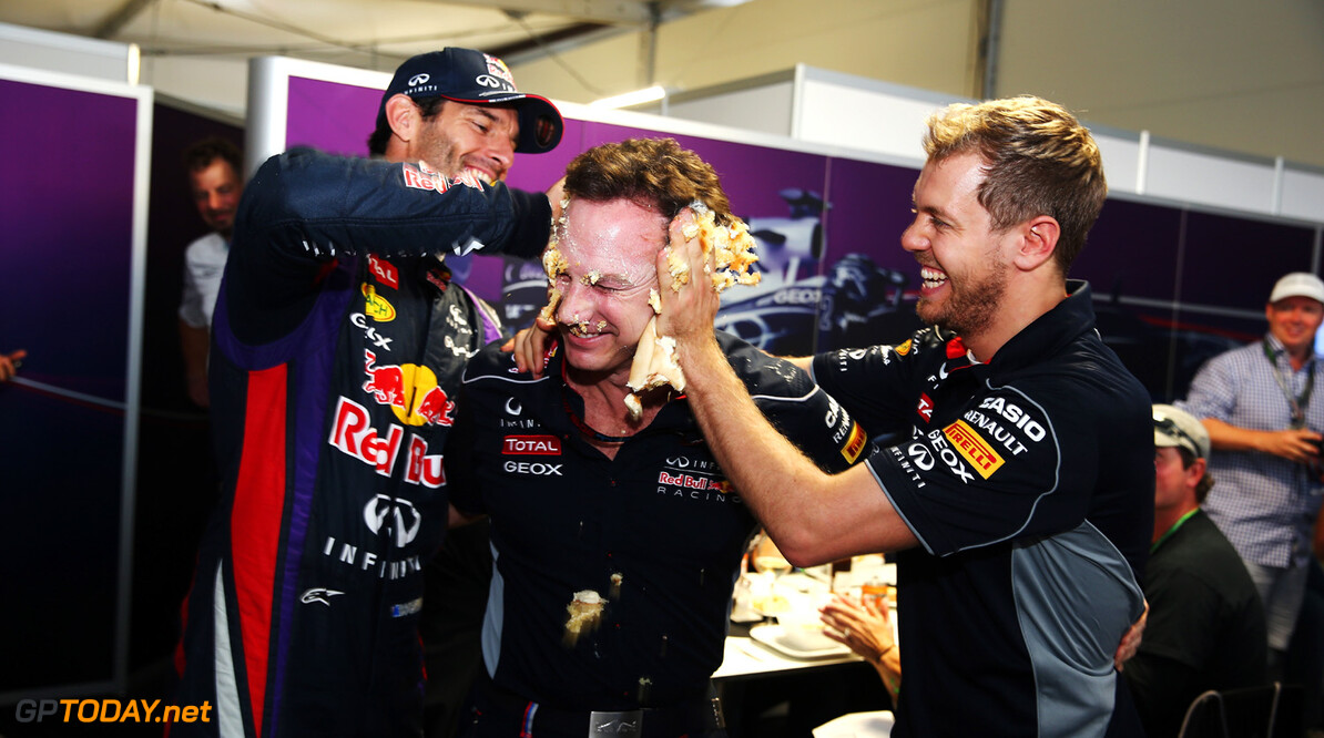 166989396KR00205_F1_Grand_P AUSTIN, TX - NOVEMBER 16:  Sebastian Vettel (R) of Germany and Infiniti Red Bull Racing and Mark Webber (L) of Australia and Infiniti Red Bull Racing push a cake into the face of their Team Principal Christian Horner as he celebrates his 40th birthday following qualifying for the United States Formula One Grand Prix at Circuit of The Americas on November 16, 2013 in Austin, United States.  (Photo by Mark Thompson/Getty Images) *** Local Caption *** Sebastian Vettel; Mark Webber; Christian Horner F1 Grand Prix of USA - Qualifying Mark Thompson Austin United States  F1 Formula One