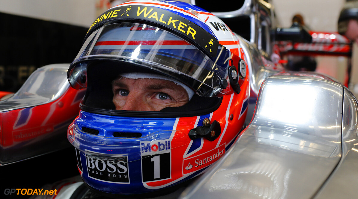 Jenson Button in his car.