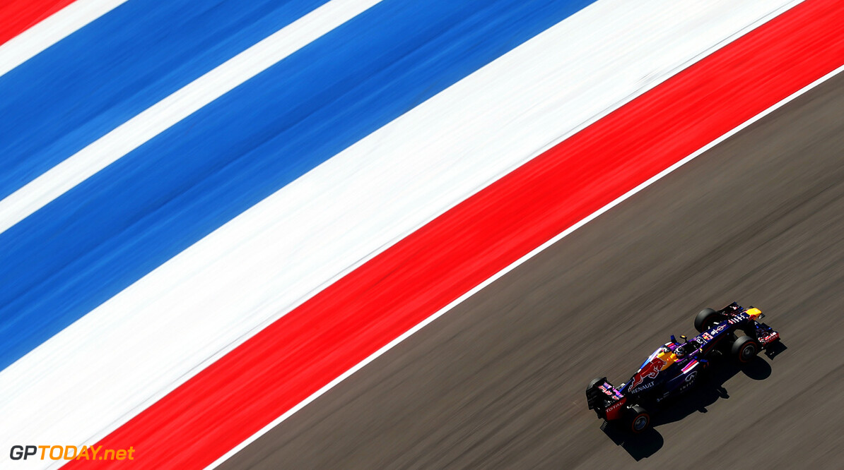 166989390KR00169_F1_Grand_P AUSTIN, TX - NOVEMBER 15:  Sebastian Vettel of Germany and Infiniti Red Bull Racing drives during practice for the United States Formula One Grand Prix at Circuit of The Americas on November 15, 2013 in Austin, United States.  (Photo by Mark Thompson/Getty Images) *** Local Caption *** Sebastian Vettel F1 Grand Prix of USA - Practice Mark Thompson Austin United States  F1 Formula One