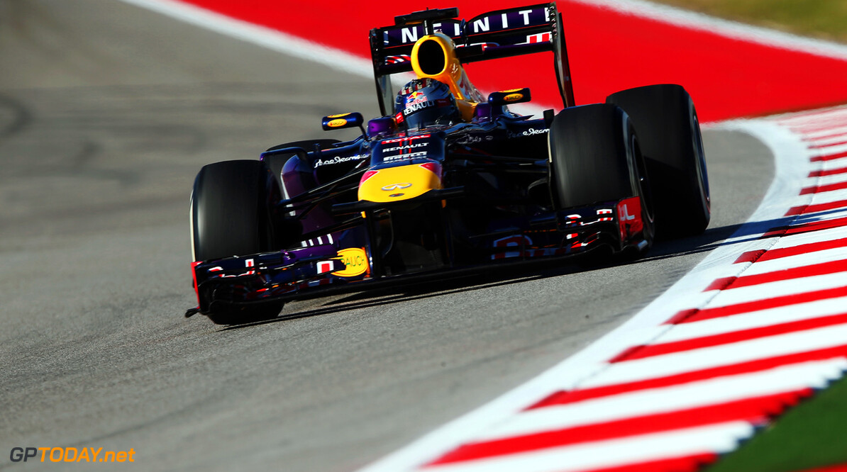 166989390KR00165_F1_Grand_P AUSTIN, TX - NOVEMBER 15:  Sebastian Vettel of Germany and Infiniti Red Bull Racing drives during practice for the United States Formula One Grand Prix at Circuit of The Americas on November 15, 2013 in Austin, United States.  (Photo by Mark Thompson/Getty Images) *** Local Caption *** Sebastian Vettel F1 Grand Prix of USA - Practice Mark Thompson Austin United States  F1 Formula One