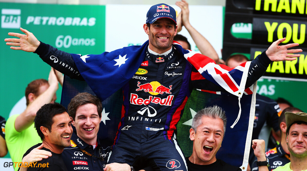 166989451XX00207_F1_Grand_P SAO PAULO, BRAZIL - NOVEMBER 24:  Mark Webber of Australia and Infiniti Red Bull Racing celebrates on the podium with team mates after finishing second in his final F1 race following the Brazilian Formula One Grand Prix at Autodromo Jose Carlos Pace on November 24, 2013 in Sao Paulo, Brazil.  (Photo by Paul Gilham/Getty Images) *** Local Caption *** Mark Webber F1 Grand Prix of Brazil - Race Paul Gilham Sao Paulo Brazil  Interlagos