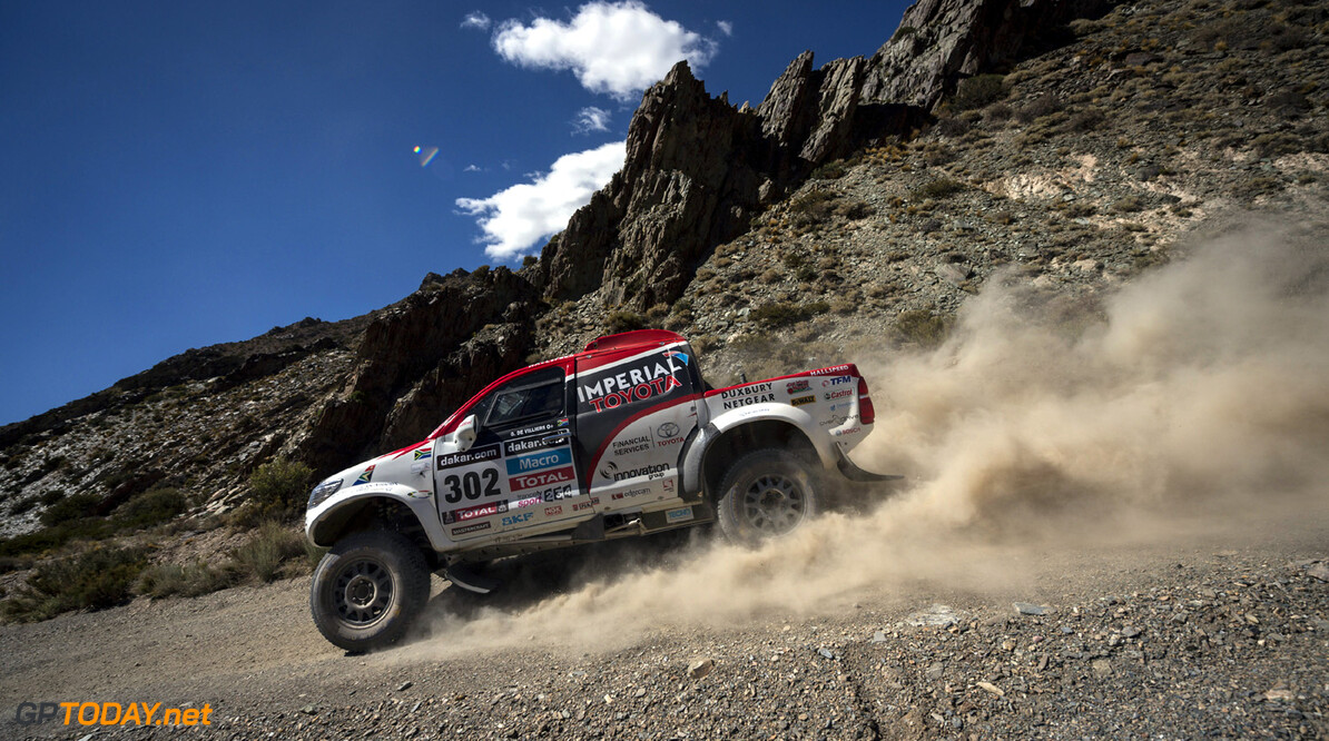 Giniel de Villiers (driver) and Dirk van Zitzewitz (co-driver) race during the 3rd stage of Dakar Rally from San Rafael to San Juan, Argentina on January 7th, 2014 // Marcelo Maragni/Red Bull Content Pool // P-20140107-00342 // Usage for editorial use only // Please go to www.redbullcontentpool.com for further information. //  Giniel de Villiers - Action  San Rafael Argentina  P-20140107-00342