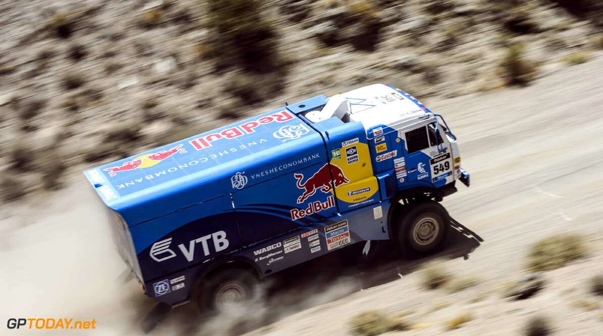 Dmitry Sotnikov (driver), Viatcheslav Mizyukaev (co-driver) and Almaz Khisamiev (co-driver) race during the 3rd stage of Dakar Rally from San Rafael to San Juan, Argentina on January 7th, 2014 // Marcelo Maragni/Red Bull Content Pool // P-20140107-00366 // Usage for editorial use only // Please go to www.redbullcontentpool.com for further information. //  Dmitry Sotnikov - Action  San Rafael Argentina  P-20140107-00366