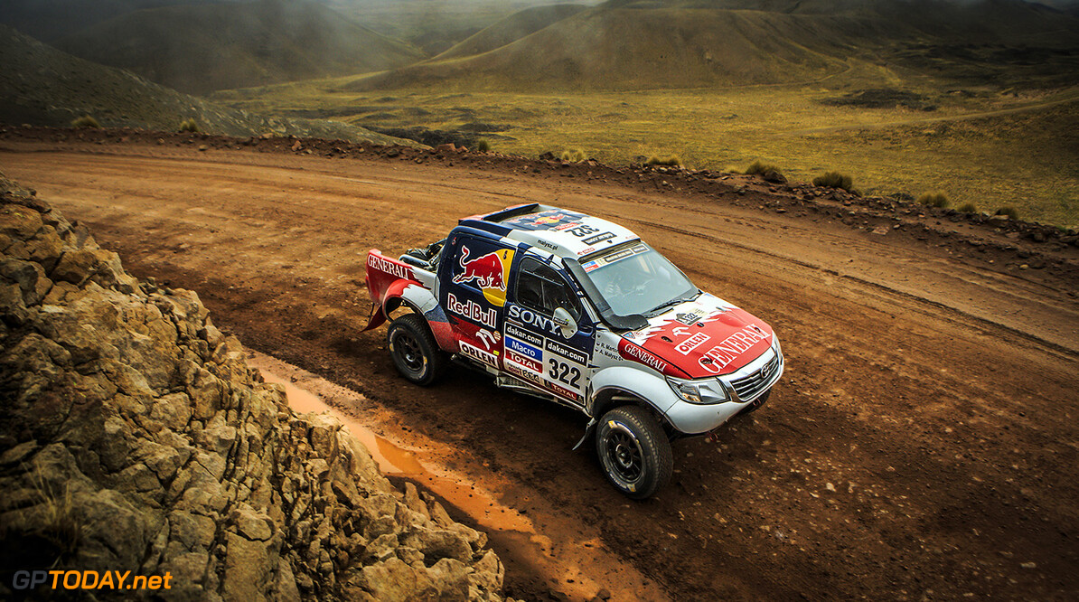 Adam Malysz (driver) and Rafal Marton (co-driver) race during the 8th stage of Dakar Rally from Salta, Argentina to Calama, Chile on January 13th, 2014 // Kin Marcin/Red Bull Content Pool // P-20140115-00144 // Usage for editorial use only // Please go to www.redbullcontentpool.com for further information. // Adam Malysz - Action Marcin Kin Calama Argentina  P-20140115-00144