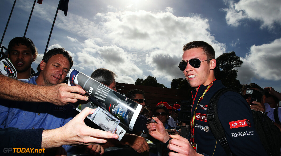 477191325XX00038_Australian MELBOURNE, AUSTRALIA - MARCH 13:  Daniil Kvyat of Russia and Scuderia Toro Rosso signs autographs for fans during previews to the Australian Formula One Grand Prix at Albert Park on March 13, 2014 in Melbourne, Australia.  (Photo by Mark Thompson/Getty Images) *** Local Caption *** Daniil Kvyat Australian F1 Grand Prix - Previews Mark Thompson Melbourne Australia  Formula One Racing formula 1 Auto Racing Formula 1 Australian Grand Prix Australian Formula One Grand Prix Formula One Grand Prix Australia F1 Grand Prix