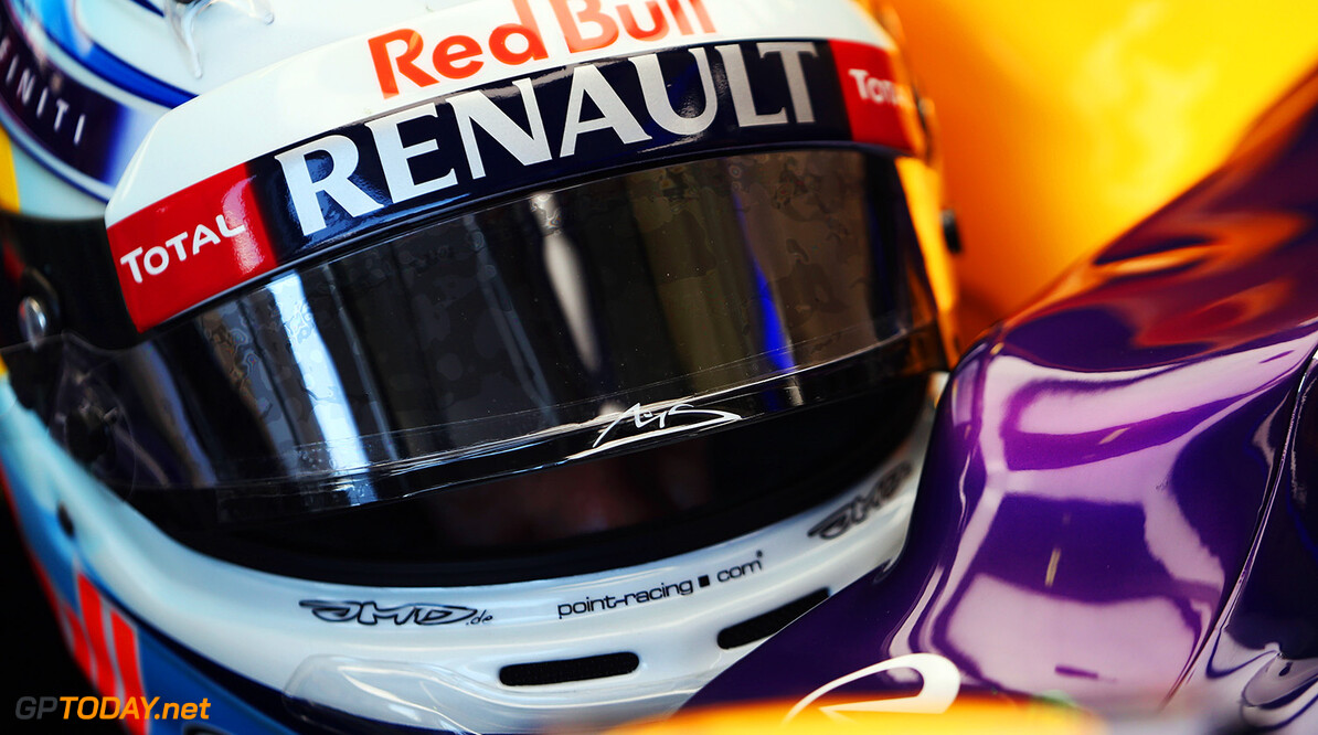 477191357KR00022_Australian MELBOURNE, AUSTRALIA - MARCH 14:  The signature insignia of Michael Schumacher is seen on the visor of the drivers helmet of Sebastian Vettel of Germany and Infiniti Red Bull Racing as he prepares to drive during practice for the Australian Formula One Grand Prix at Albert Park on March 14, 2014 in Melbourne, Australia.  (Photo by Mark Thompson/Getty Images) *** Local Caption *** Sebastian Vettel Australian F1 Grand Prix - Practice Mark Thompson Melbourne Australia  Formula One Racing formula 1 Auto Racing Formula 1 Australian Grand Prix Australian Formula One Grand Prix Formula One Grand Prix Australia F1 Grand Prix