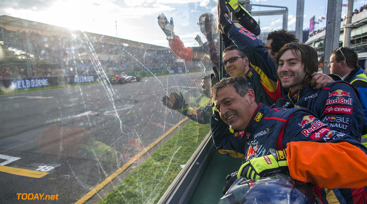 477191467KR00312_Australian MELBOURNE, AUSTRALIA - MARCH 16:  Scuderia Toro Rosso mechanics celebrate as their cars finish ninth and tenth during the Australian Formula One Grand Prix at Albert Park on March 16, 2014 in Melbourne, Australia.  (Photo by Peter Fox/Getty Images) Australian F1 Grand Prix - Race Peter Fox Melbourne Australia  Formula One Racing formula 1 Auto Racing Formula 1 Australian Grand Prix Australian Formula One Grand Prix Formula One Grand Prix Australia F1 Grand Prix
