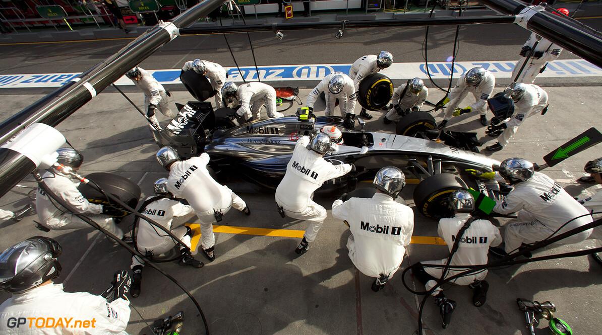 Kevin Magnussen makes a pit stop.