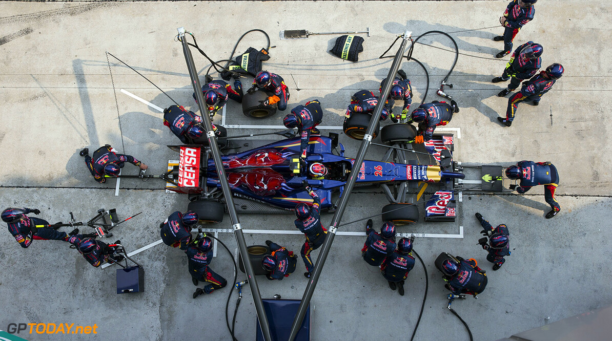 479868513KR00103_F1_Grand_P KUALA LUMPUR, MALAYSIA - MARCH 30:  In this sequence of frames Daniil Kvyat of Russia and Scuderia Toro Rosso stops for a pitstop during the Malaysia Formula One Grand Prix at the Sepang Circuit on March 30, 2014 in Kuala Lumpur, Malaysia.  (Photo by Peter Fox/Getty Images) *** Local Caption *** Daniil Kvyat F1 Grand Prix of Malaysia - Race Peter Fox Kuala Lumpur Malaysia  Formula One Racing formula 1 Auto Racing Malaysia F1 Grand Prix Malaysian Formula One Grand Prix Formula One Grand Prix