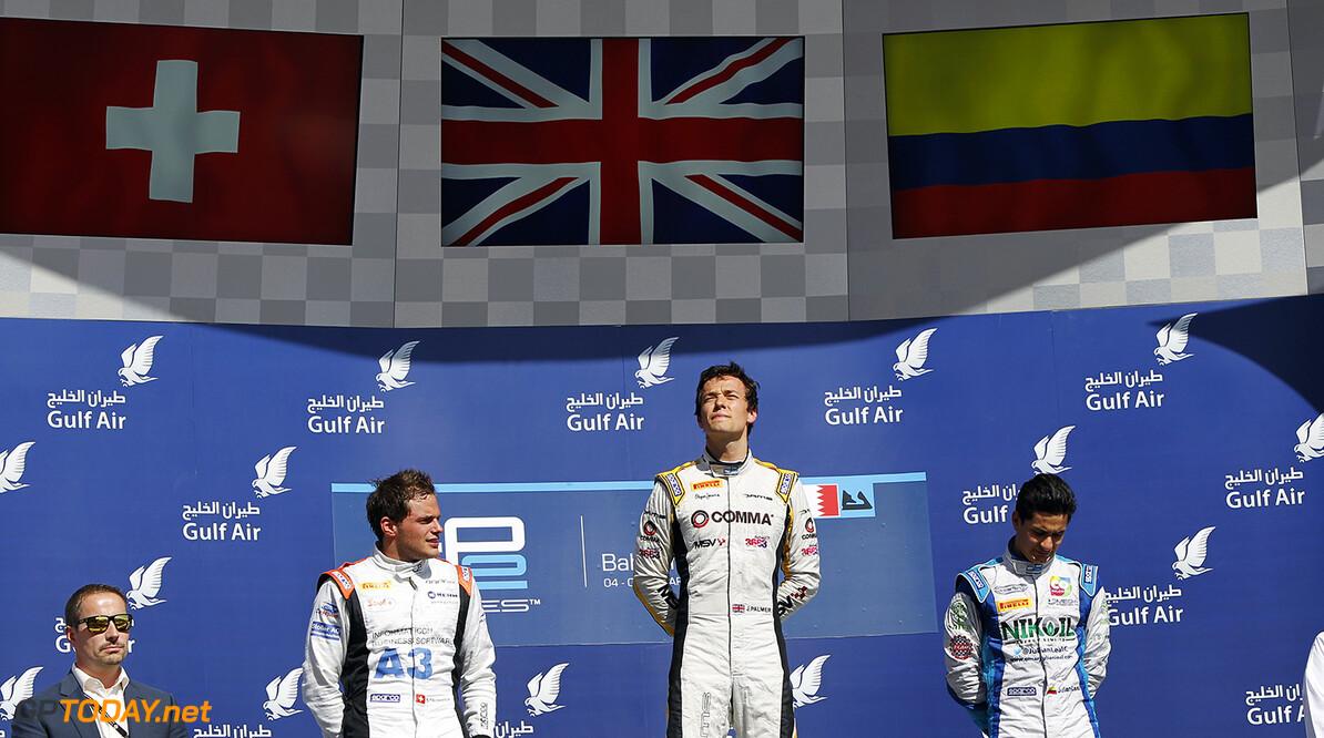 2014 GP2 Series Round 1 Bahrain International Circuit, Bahrain Sunday 6 April 2014. Jolyon Palmer (GBR, DAMS), 1st, Simon Trummer (SUI, Rapax), 2nd & Julian Leal (COL, Carlin), 3rd World Copyright: Sam Bloxham/LAT Photographic. ref: Digital Image _G7C3623  Sam Bloxham    Race Two