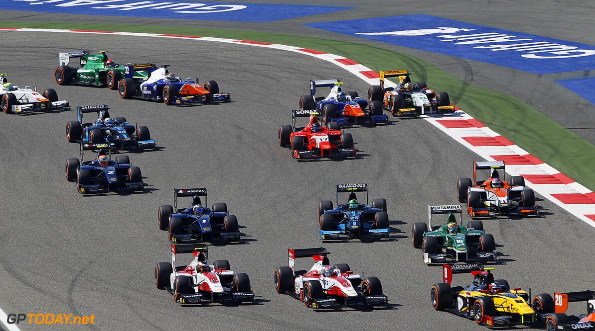 2014 GP2 Series Round 1 Bahrain International Circuit, Bahrain Sunday 6 April 2014. The GP2 pack on the first lap World Copyright: Sam Bloxham/LAT Photographic. ref: Digital Image _G7C3283  Sam Bloxham    Race Two