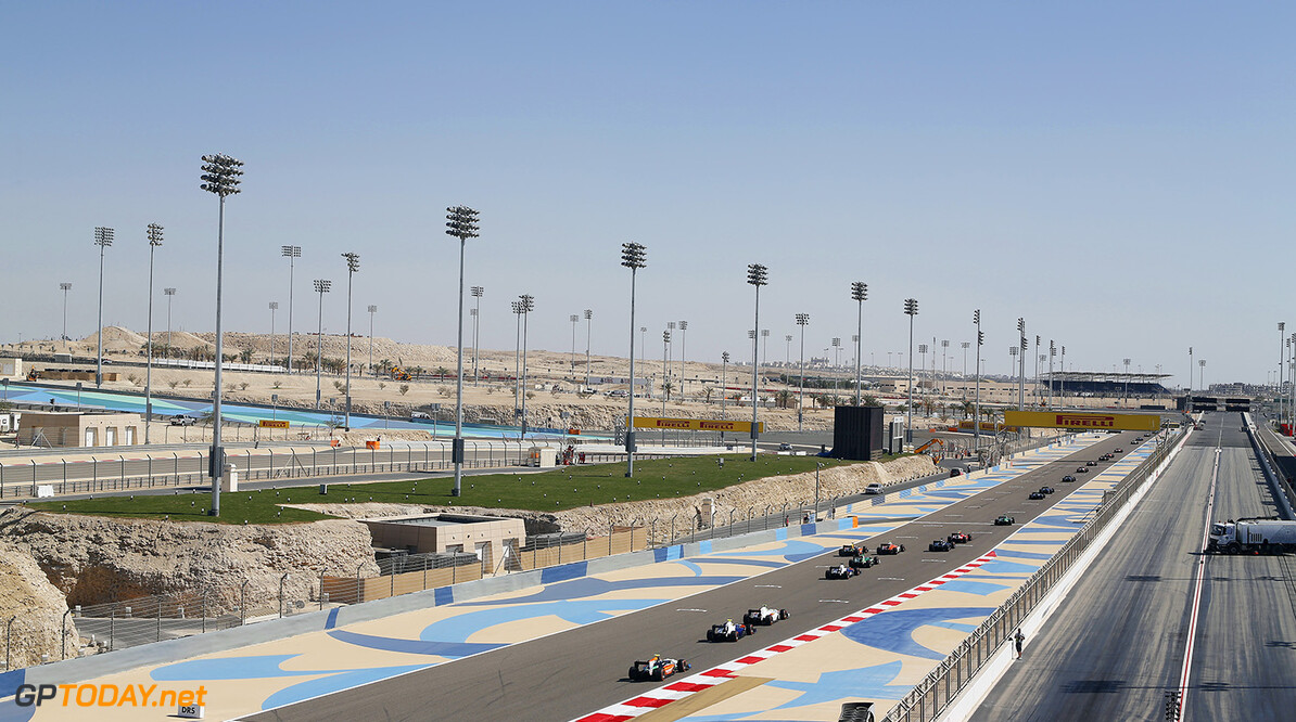 2014 GP2 Series Round 1 Bahrain International Circuit, Bahrain Sunday 6 April 2014. The rest of the GP2 field on the first lap World Copyright: Sam Bloxham/LAT Photographic. ref: Digital Image _SBL7449  Sam Bloxham    Race Two