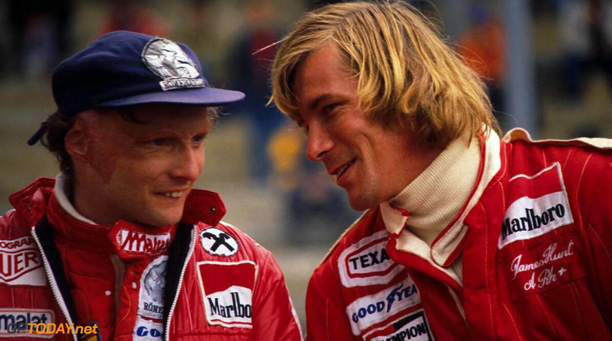 L-R: Niki Lauda (AUT), James Hunt (GBR) Belgian Grand Prix, Zold L-R: Niki Lauda (AUT), James Hunt (GBR) Belgian Grand Prix, Zolder 5 June 1977      Belgium F1 Formula 1 Formula One Portrait