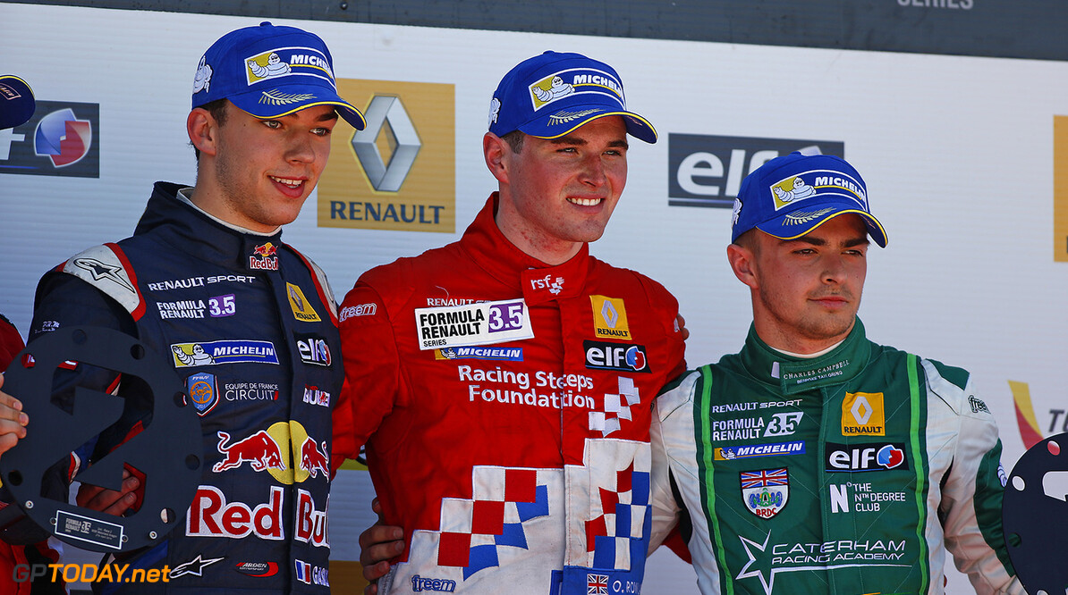 GASLY Pierre (Fra)  Formula Renault 3.5 Arden Motorsport  ambiance ROWLAND Oliver (Gbr) Formula Renault 3.5 Fortec Motorsports  ambiance STEVENS Will (Gbr) Formula Renault 3.5 Strakka Racing ambiance podium during the 2014 World Series by Renault, on April 27, 2014 in Motorland, Spain. Photo Florent Gooden / DPPI AUTO - WSR MOTORLAND 2014 FLORENT GOODEN MOTORLAND SPAIN  Auto Car FR Formula Renault FR 3.5 MONOPLACE Motorsport Race UNIPLACE WSR WORLD SERIES BY RENAULT 2014 APRIL AVRIL