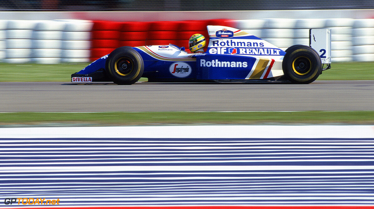1994 San Marino Grand Prix Imola, Italy, 29th April - 1st position, May 1994 Ayrton Senna lights up the front brake discs on the Williams FW16-Renault. This was the event at which he tragically lost his life. Action. Photo: LAT Photographic/Williams F1. Ref: 1994williams15