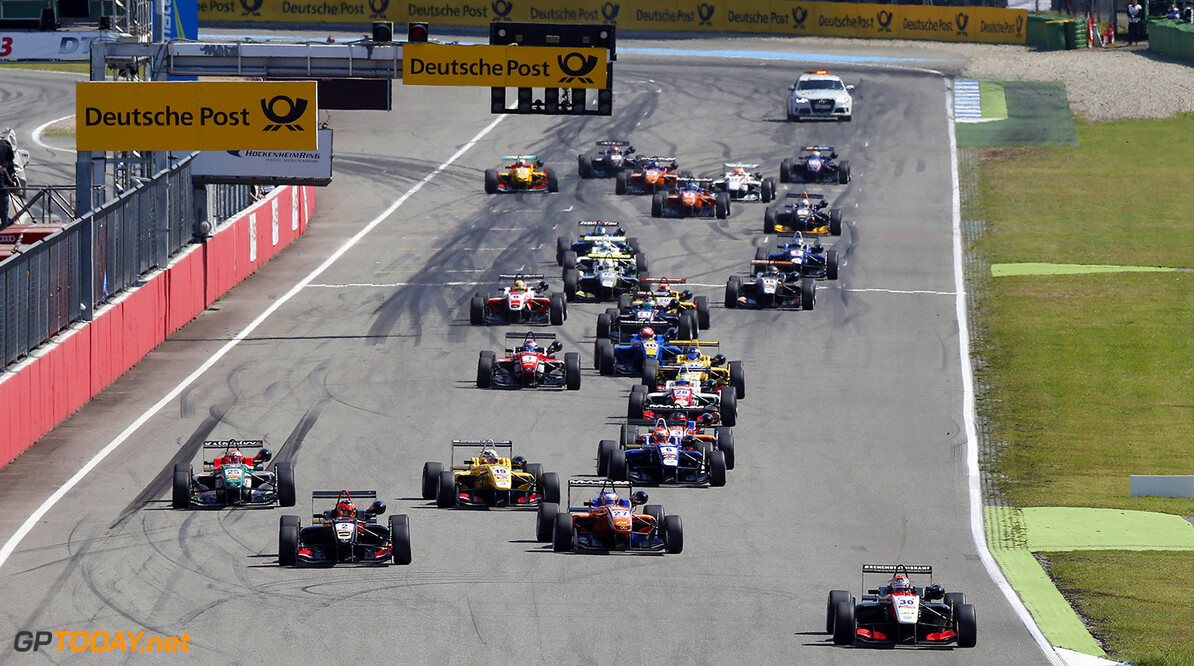FIA Formula 3 European Championship, round 2, race 3, Hockenheim Start of the race, 30 Max Verstappen (NLD, Van Amersfoort Racing, Dallara F312 - Volkswagen) taking the lead, FIA Formula 3 European Championship, round 2, race 3, Hockenheim (GER) - 2. - 4. May 2014 FIA Formula 3 European Championship, round 2, race 3, Hockenheim (GER) Thomas Suer Hockenheim Germany