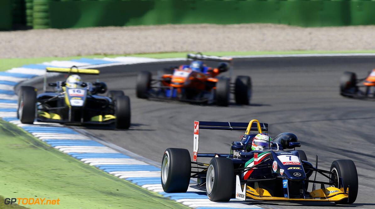 FIA Formula 3 European Championship, round 2, race 3, Hockenheim 7 Riccardo Agostini (ITA, Eurointernational, Dallara F312 - Mercedes), 16 Gustavo Menezes (USA, Van Amersfoort Racing, Dallara F312 - Volkswagen), FIA Formula 3 European Championship, round 2, race 3, Hockenheim (GER) - 2. - 4. May 2014 FIA Formula 3 European Championship, round 2, race 3, Hockenheim (GER) Thomas Suer Hockenheim Germany
