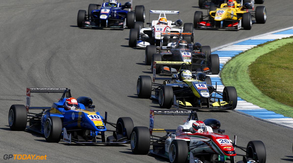 FIA Formula 3 European Championship, round 2, race 2, Hockenheim Start of the race, 26 Dennis Van de Laar (NLD, Prema Powerteam, Dallara F312 - Mercedes), 10 John Bryant-Meisner (SWE, Fortec Motorsports, Dallara F312 - Mercedes), FIA Formula 3 European Championship, round 2, race 2, Hockenheim (GER) - 2. - 4. May 2014 FIA Formula 3 European Championship, round 2, race 2, Hockenheim (GER) Thomas Suer Hockenheim Germany