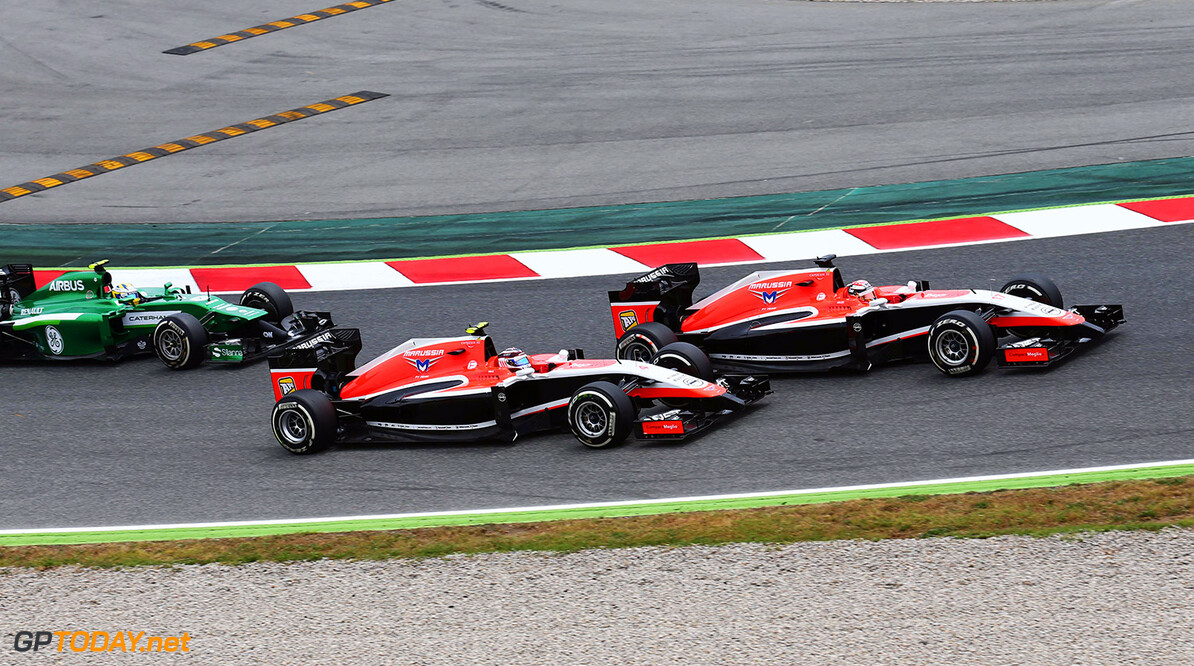 Formula One World Championship Jules Bianchi (FRA) Marussia F1 Team MR03 leads Max Chilton (GBR) Marussia F1 Team MR03. 11.05.2014. Formula 1 World Championship, Rd 5, Spanish Grand Prix, Barcelona, Spain, Race Day. Motor Racing - Formula One World Championship - Spanish Grand Prix - Race Day - Barcelona, Spain Marussia F1 Team Barcelona Spain  Formel1 Formel F1 Formula 1 Formula1 GP Grand Prix one Circuit de Catalunya May Spanish Spain Montmelo Sunday 11 11 5 05 2014 Action Track