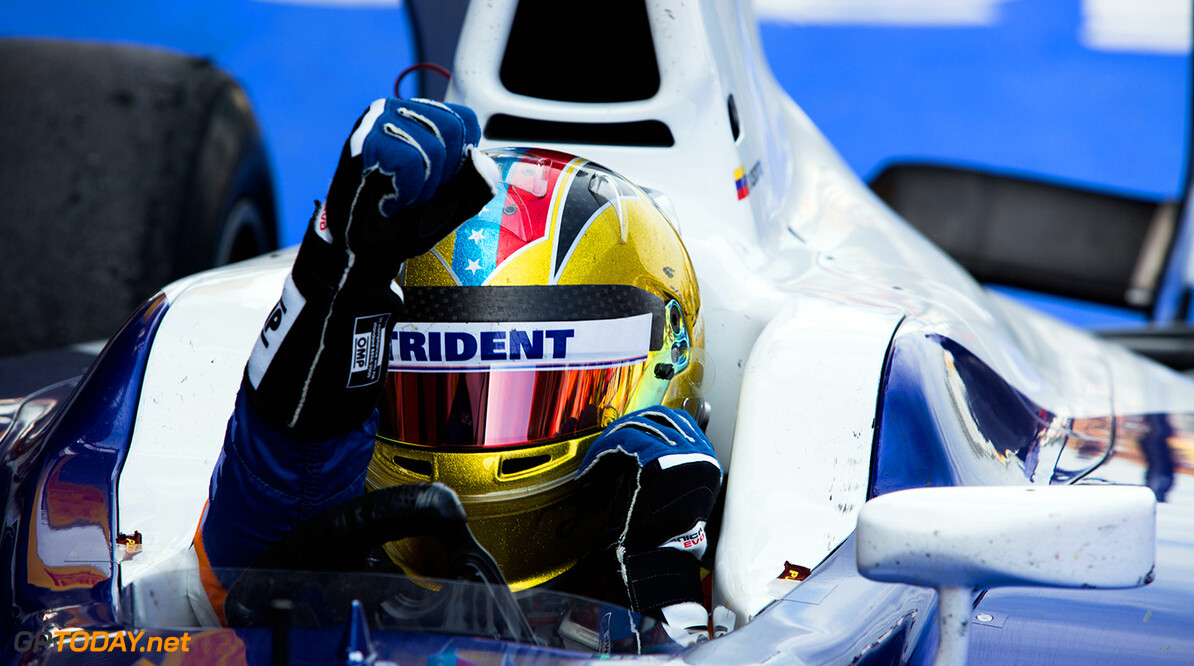 2014 GP2 Series Round 2 - Race 1. Circuit de Catalunya, Barcelona, Spain. Saturday 10 May 2014. Johnny Cecotto (VEN, Trident), celebrates his win Photo: Malcolm Griffiths/GP2 Series Media Service. ref: Digital Image A50A3162   Malcolm Griffiths